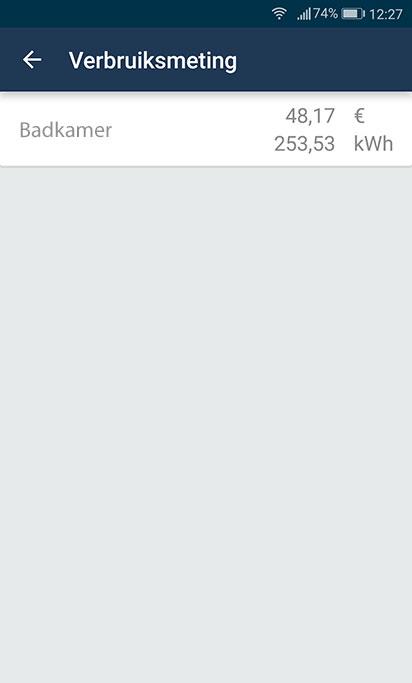 Het totale verbruik in € en kWh. De meting kan gereset worden naar nul