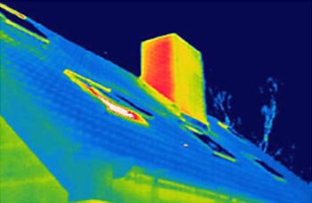 Verliezen naar buitenlucht. De schoorsteen, kozijnen en de buitenmuur zijn elementen die warmte verliezen.