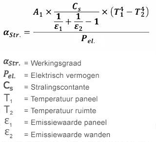 Formule voor rendement van infraroodverwarming