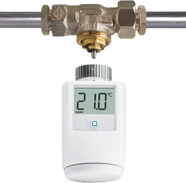 De slimme thermostaatknop past op radiatoren met een afsluiter met een schroefdraad van 30 mm (M30 afsluiter).