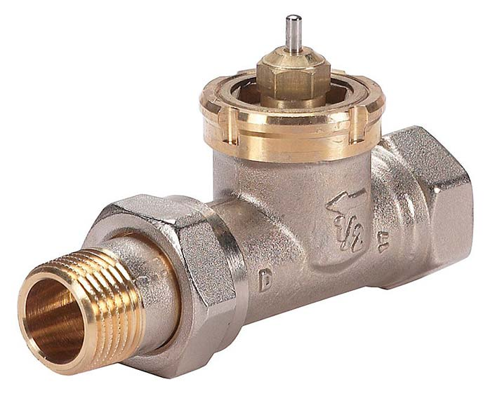 Een slimme thermostaatknop past op een Danfoss RAV afsluiter. Een adapter wordt gratis meegeleverd, maar het is beter deze afsluiter te vervangen voor een M30 afsluiter.