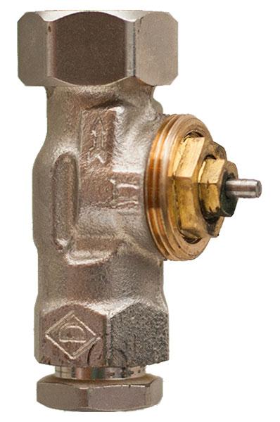 Dit is een afsluiter. De thermostaatknop is verwijderd, zodat de schroefdraad van de afsluiter is te zien.
