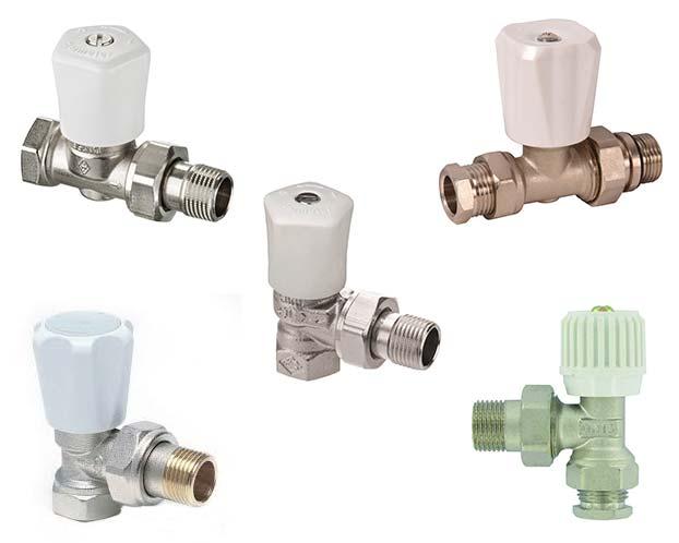 Dit zijn vijf voorbeelden van radiatorkranen. Deze zul je moeten vervangen voor afsluiters, omdat een radiatorkraan niet geschikt is voor een slimme thermostaatknop.