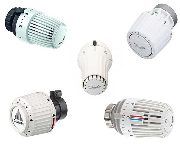Een slimme thermostaatknop vervangt een standaard thermostaatknop. Dit zijn vijf voorbeelden van standaard thermostaatknoppen.