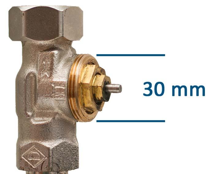 Een slimme thermostaatknop past op een M30 afsluiter. Dit zijn veelvoorkomende afsluiters, met een schroefdraad van 30 mm in diameter.