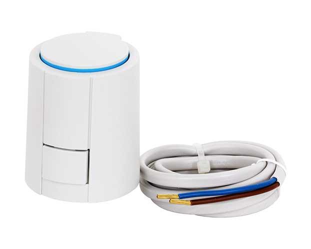 Een thermische motor voor zoneregeling voor vloerverwarming. Een thermische motor opent en sluit de toevoer van warm water naar de groepen van de vloerverwarming. Thermische motoren worden aangestuurd door een zoneregelaar.