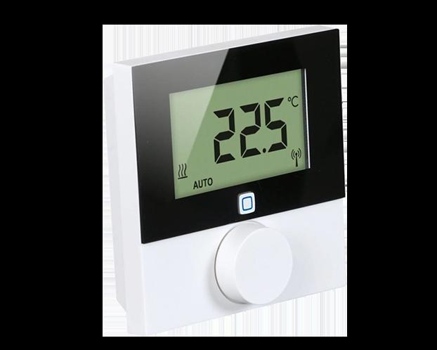 De draadloze thermostaat aan de wand stuurt slimme thermostaatknoppen in dezelfde kamer aan. De thermostaat is 'de baas' over de slimme thermostaatknoppen.