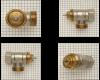 """De Oventrop afsluiter adapter past op Oventrop afsluiters. Dit zijn foto's van Oventrop afsluiters. Het logo op de afsluiter is uitgeschreven in de letters """"OV""""."""