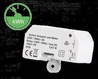 De Alpha IP schakel module wordt draadloos aangestuurd door de Alpha IP thermostaat en meet het energieverbruik. Inbouw model (voor in verdeeldoos)