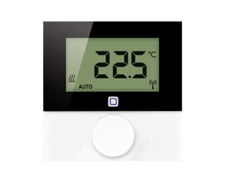 De thermostaat is draadloos en stuurt Homematic IP thermostaatknoppen, zoneregelaars en schakelaars voor infrarood verwarming en elektrische radiatoren aan.