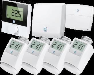Het Alpha IP slimme thermostaatknoppen pakket bevat 4 slimme thermostaatknoppen, 1 draadloze thermostaat voor de woonkamer, 1 module voor aansturing van de CV-ketel en 1 access point voor verbinding met de Alpha IP app.