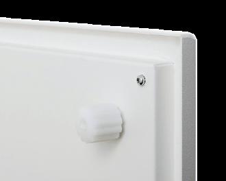De achterzijde van het paneel is hoogwaardig afgewerkt met witte poedercoating (RAL 9016)