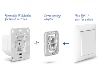 Met een los mee te bestellen wipvlak adapter, behorend bij het gekozen merk en type schakelmateriaal, kan de drukknop naar eigen smaak afgewerkt worden.