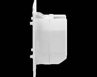 De afmetingen van de drukknop zijn 7,1 x 7,1 x 3,7 cm. De inbouwdiepte in een inbouwdoos voor elektra in de wand is 3,2 cm.