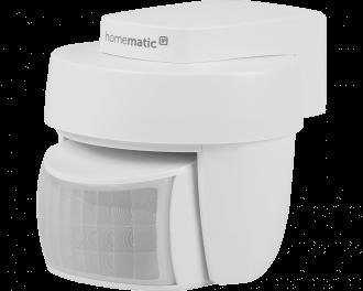 De witte Homematic IP bewegingsmelder voor buiten detecteert beweging en meet de lichtsterkte tussen 0% en 100%.