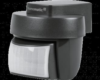 De zwarte Homematic IP bewegingsmelder voor buiten detecteert beweging en meet de lichtsterkte tussen 0% en 100%.