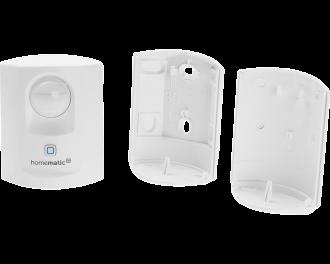 Het product bestaat uit drie onderdelen: de bewegingsmelder zelf, een achterplaat voor staande plaatsing en een achterplaat voor montage aan de wand.