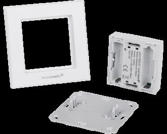Het product bestaat uit drie onderdelen: montagevlak, afdekraam en bewegingsmelder.
