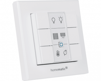 De draadloze drukknop kan gebruikt worden als schakelaar voor verlichting, rolluiken en activeren van de energiebesparende eco-modus in het hele huis.