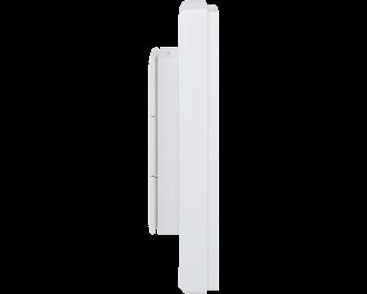De dikte van de drukknop is slechts 22mm. De drukknop zelf is 55 x 55 mm. Het gehele product, met afdekraam, meet 86 x 86 mm.