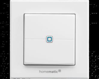 De systeemknop in het midden van de drukknop is een indicatie LED die aangeeft of een druk op de knop goed uitgevoerd werd door het ontvangende Homematic IP apparaat.
