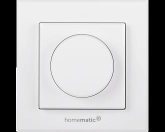 De knop werkt als drukknop en als draaiknop. Door op de knop te drukken gaan de lampen naar een voorgeprogrammeerde stand van bijv. 50%. Door aan de knop te draaien kan de dimwaarde verhoogd of verlaagd worden.