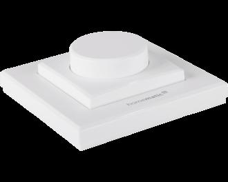 De draaiknop past in 55 x 55 mm afdekramen en kan geïntegreerd worden in schakelmateriaal van Gira, Jung, Busch-Jaeger, Merten en Berker.