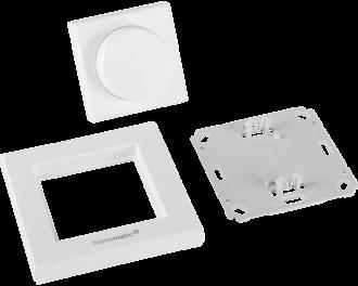 De drukknop bestaat uit drie onderdelen: montagevlak, afdekraam en draadloze draaiknop. De twee AAA-batterijen worden standaard meegeleverd. De module wordt toegevoegd aan het Homematic IP systeem via het Access Point. Dit is de hub van het Homematic IP systeem.