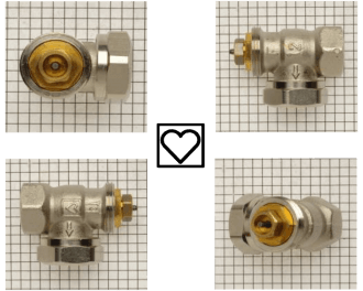 De M28 afsluiter adapter past op Herz afsluiters. Dit zijn foto's van Herz afsluiters. Het logo op de afsluiter is weergegeven als een icoon van een hart.