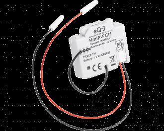 De twee draden van de input module worden aangesloten op de schakelaar, drukknop of contact.