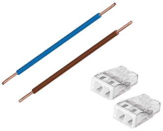 De kant en klare installatiedraad adapter set bestaat uit twee gestripte 1,5 mm2 VD draden van 6 cm lang (bruin/fase en blauw/nul) en twee compacte Wago lasklemmen.