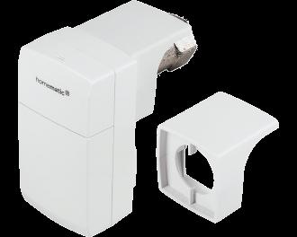 De Homematic IP slimme thermostaatknop compact is klein en slank en regelt de toevoer van warm CV water naar een radiator.