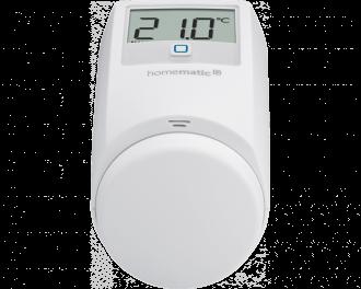 De temperatuur kan ingesteld worden met de draaiknop of via de gratis Homematic IP app.