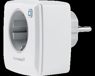 De Homematic IP stekkerschakelaar met energiemeter is eenvoudig in te steken in het stopcontact en schakelt elektrische verwarming, verlichting, TV-apparatuur en andere apparaten aan en uit.