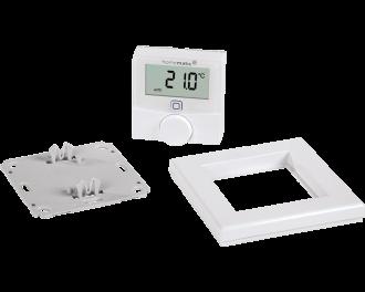 Het product bestaat uit drie onderdelen: montagevlak, afdekraam en draadloze thermostaat. De twee AAA-batterijen worden standaard meegeleverd.