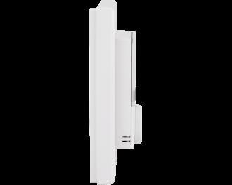De thermostaat is slechts 25mm dik. De thermostaat zelf is 55 x 55 mm. Het gehele product, met afdekraam, meet 86 x 86 mm.