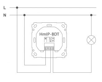 Aansluitschema als enkele dimmer. L is de bruine draad, N is de blauwe draad. De lamp of lampen worden aangesloten op de uitgang.