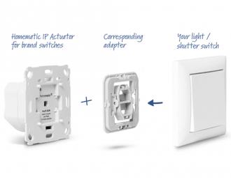 Met een los mee te bestellen wipvlak adapter, behorend bij het gekozen merk en type schakelmateriaal, kan de schakelaar naar eigen smaak afgewerkt worden.
