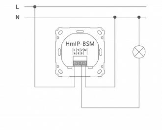 Aansluitschema als normale schakelaar. L is de bruine draad, N is de blauwe draad. De lamp wordt aangesloten op uitgang 2.