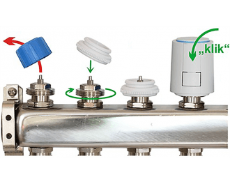 Verwijder de afdekkappen, draai de juiste afsluiter adapter op de groepafsluiters, en klik de thermische motoren op de adapters.