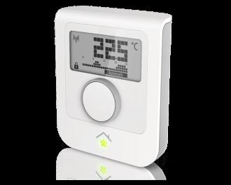 1x SmartHome thermostaat - voor in de woonkamer. Deze is draadloos en kan een of meerdere thermostaatknoppen aansturen