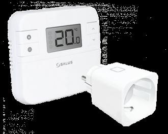 Salus draadloze digitale thermostaat met stekkerschakelaar voor infraroodverwarming. Model RT510SPE
