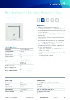 Datasheet van Homematic IP Temperatuursensor