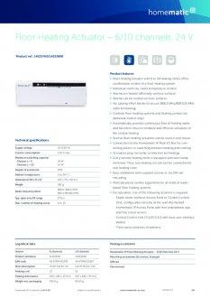 Datasheet van Homematic IP Zoneregelaar 10 kanalen - 24V