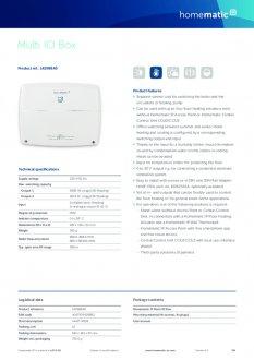 Datasheet van Homematic IP Warmtepomp module