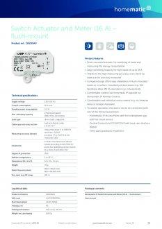 Datasheet van Homematic IP Inbouw schakel module 2750 Watt - met energiemeter