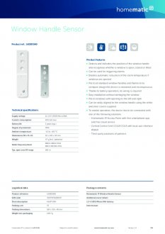 Datasheet van Homematic IP Raamgreep sensor