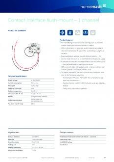 Datasheet van Homematic IP Input module inbouw enkelvoud