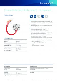 Datasheet van Homematic IP Input module inbouw zesvoud