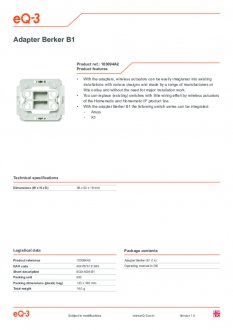 Datasheet van Homematic IP Berker 1 wipvlak adapter